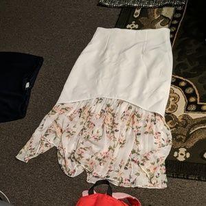 Skirt white asymmetric